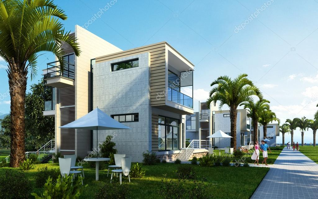 Modern building exterior with gardenpalms and trees stock photo