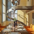 Stock Photo: Modern dining room with wide windows and spiral staircase.