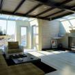 Modern livingroom with large windows. — Stock Photo