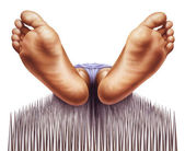 Bed of nails with fakir viewed from feet — Stock Photo