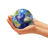 Woman's hands holding the earth globe. — Stock Photo