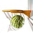 Watermelon centering the basket, close up view. — Stock Photo #25680757