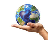 Man hand with earth globe on it. On white background. — Stock Photo