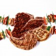 Royalty-Free Stock Photo: Grilled mixed steaks and skewers composition. Airbrush illustrat