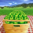 Green apples into a wooden box on a table, with landscape and ap — Stock Photo