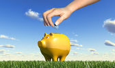 Woman hand inserting a coin into a yellow ceramic piggy bank pla — Stock Photo