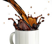 Pouring coffee splashing into a glass mug. — Foto Stock