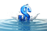 Us dollar sign falling into water with splash — Stock Photo