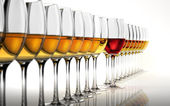 Row of many white wine glasses, with a red one standing out in t — Stock Photo