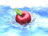 Red apple with leaf, splashing into water. bird eye view. — Stock Photo