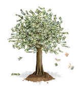 Money Tree with US Dollar bank notes in place of leaves. — Stock Photo