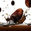 Coffee bean falling into a dark liquid, forming a crown splash, — Stock Photo