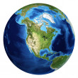 图库照片: Earth globe, realistic 3 D rendering. North Americview.