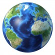 Earth globe, realistic 3 D rendering. Atlantic ocean view. — Stock Photo