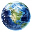 Stock Photo: Planet earth with some clouds. North America view.