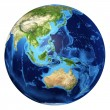 Earth globe, realistic 3 D rendering. Oceania view. — Stock Photo
