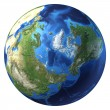 Earth globe, realistic 3 D rendering. Arctic view (North pole). — Stock Photo