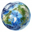 Stock Photo: Earth globe, realistic 3 D rendering, with some clouds.