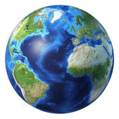 Earth globe, realistic 3 D rendering. Atlantic ocean view. — Foto de Stock