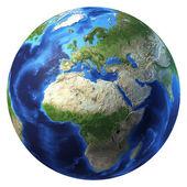 行星地球与一些云。欧洲和非洲的视图. — 图库照片