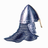 Middle age warrior helmet, on white background. — Stock Photo