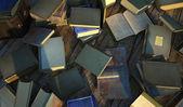 Wiele starych i zabytkowych książek, rozłożone na powierzchni drewnianych. — Zdjęcie stockowe
