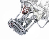 Multi link front car suspension, with brake. Photorealistic 3 D — Stock Photo