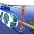 Helicopter flying over the Golden Gate bridge. Brid eye view wit — Stock Photo #25831001