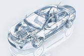 Generic sedan car detailed cutaway representation, with ghost effect. — Stock Photo