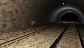 Old rail train tunnel with double track. — Stok fotoğraf