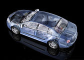 Generic sedan car detailed cutaway representation, with ghost effect — Stock Photo