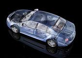 Generic sedan car detailed cutaway representation, with ghost effect — Stock Photo