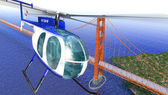 Helicopter flying over the Golden Gate bridge. Brid eye view wit — Stock Photo