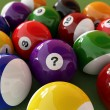 Group of billiard balls with numbers, on green carpet table, whe — Stock Photo