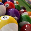 Group of billiard balls with numbers, on green pool table, with — Stock Photo #25851299