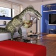 Modern livingroom with a theropod dinosaur, sitting on the sofa - Stock Photo