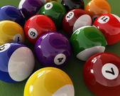 Group of billiard balls with numbers, on green carpet table. Clo — Stock Photo