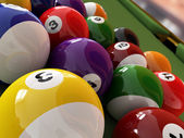 Group of billiard balls with numbers, on green pool table, with — Stock Photo
