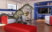 Modern livingroom with a theropod dinosaur, sitting on the sofa — Stock Photo