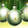 Christmass abstract green and yellow background with big silver - Stock Photo