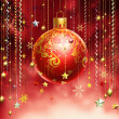 Christmass red abstract background with several decorations hang — Stock Photo