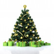Christmas tree with golden balls and decoration. Below it there — Stock Photo