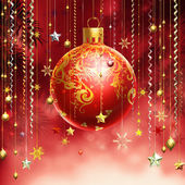 Christmass red abstract background with several decorations hang — 图库照片