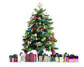 Christmass tree with several gifts — Stock Photo