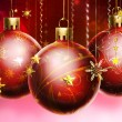 Christmass abstract background with big decorated balls — Stock Photo