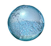 Planet Earth made of glass with a some water inside. — Stock Photo