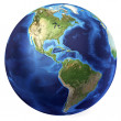 Earth globe, realistic 3 D rendering. Americas view. (Source map — Lizenzfreies Foto
