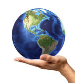 Hand with earth globe — Stock Photo