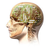 Electronic circuit in human head — Stock Photo