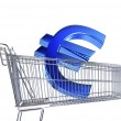 Supermarket trolley with big Euro sign — Stock Photo #50879085